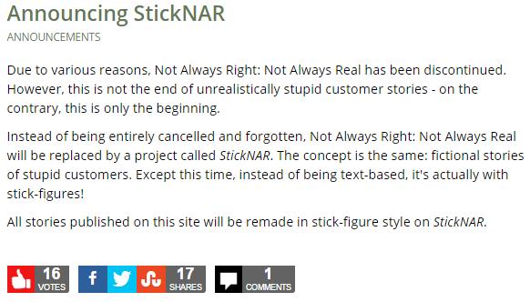 Announcing StickNAR